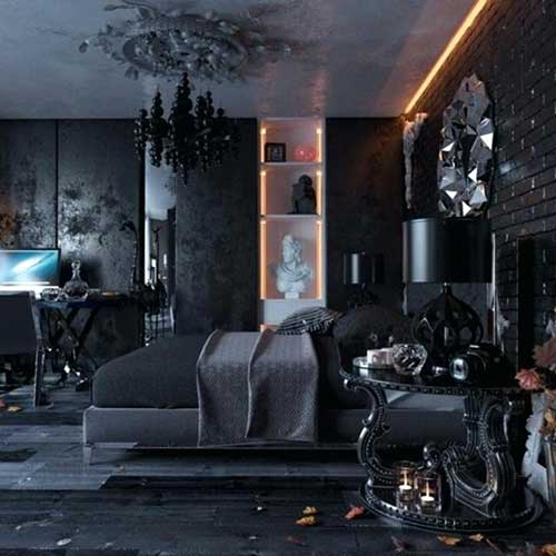 quarto gotico com parede de tijolinhos pretos