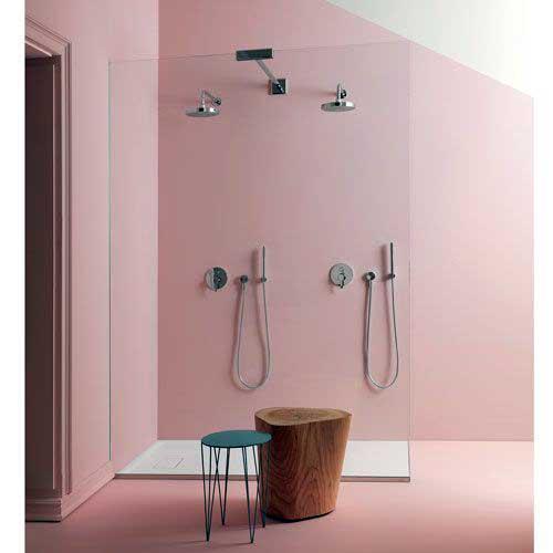 banheiro rosa quartzo com box de vidro
