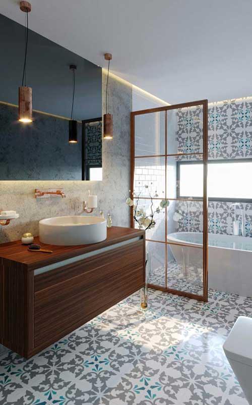 banheiro feminino delicado com revestimento arabesco