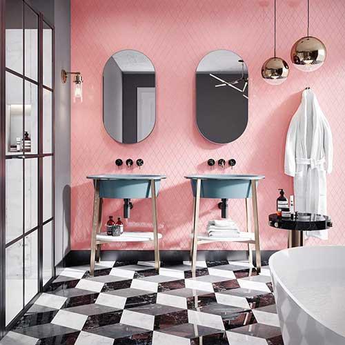 banheiro rosa com piso 3d escuro