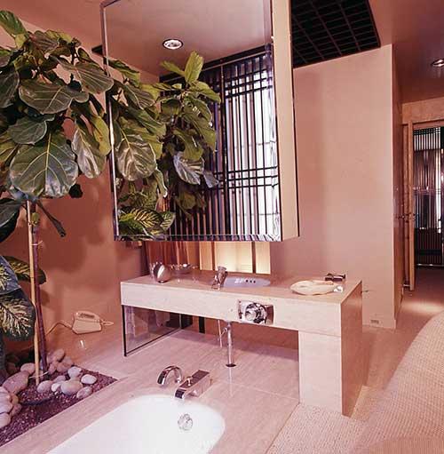 banheiro rosa pastel com jardim ao lado da banheira