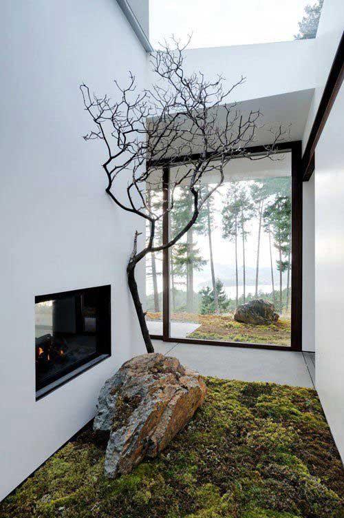 jardim de inverno sem teto em sala de estar