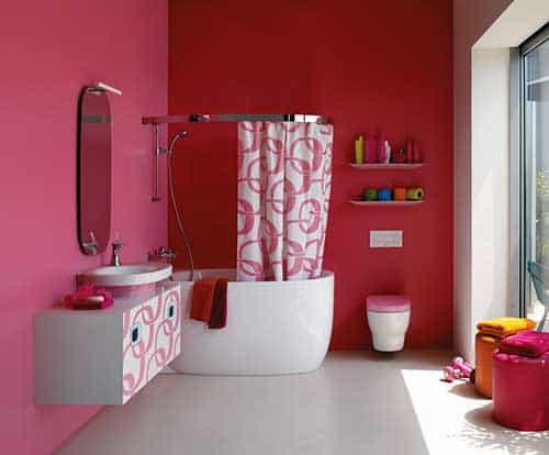 projeto de banheiro planejado rosa e vermelho feminino
