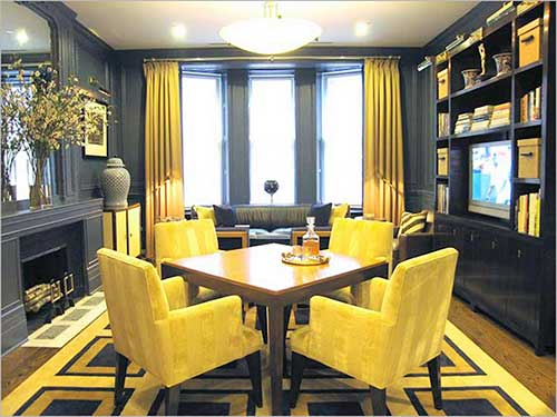 sala de jantar combinando amarelo e cinza