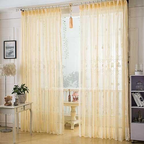 cortina de renda amarela para sala de estar