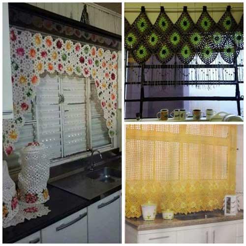 cortina colorida de croche pra cozinha