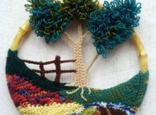 bordado de croche imitando paisagem rustica