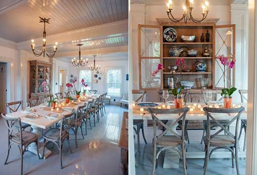 sala de jantar vintage decorada com vasos de orquidea