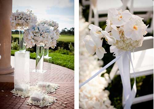 foto de casamento decorado com orquideas grandes