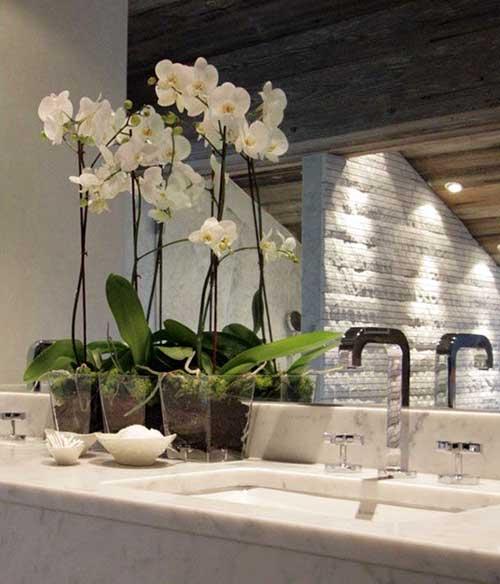 orquidea branca em cima da bancada do banheiro