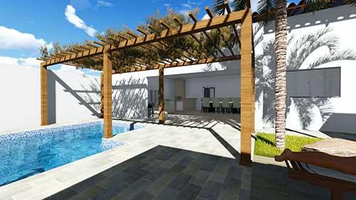 imagem de sacada gourmet com pergolado e piscina grande