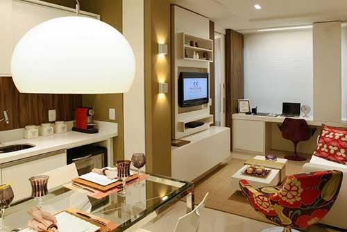 projeto de sala de estar junto com sala de jantar em apartamento pequeno de luxo