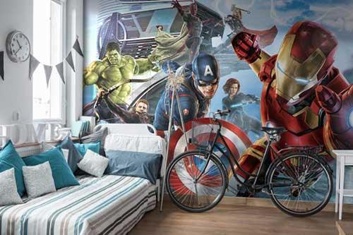 quarto dos vingadores com papel de parede