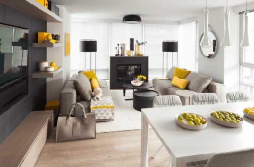 sala de estar e jantar decorada em 3 cores