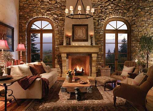 foto de sala de estar aconchegante com lareira