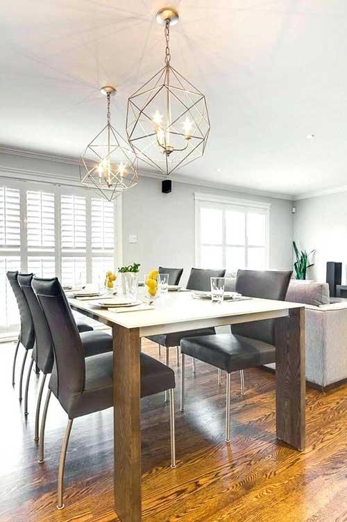 lustre para sala de jantar com formas geometricas