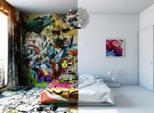 foto de quarto decorado com grafite