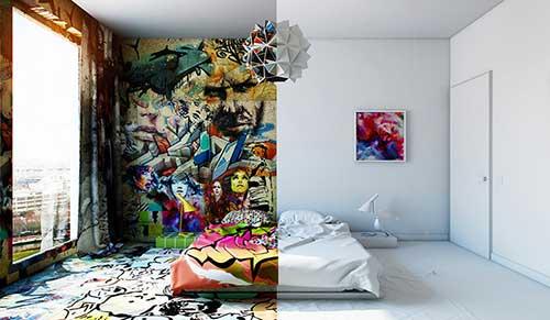 foto de quarto decorado com grafite
