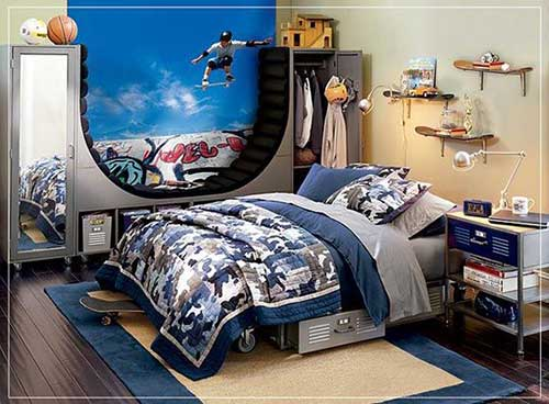 foto de quarto masculino com tema skate
