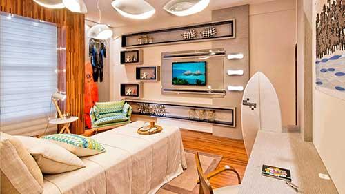foto de quarto moderno com luminaria em forma de concha