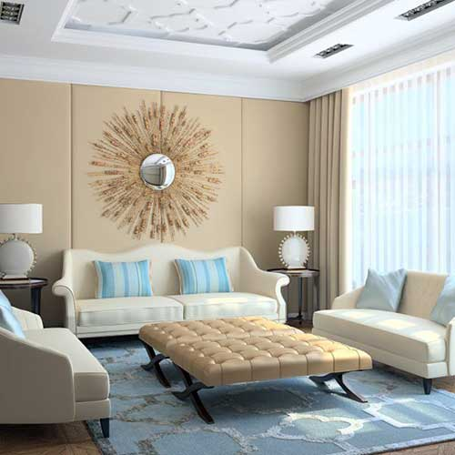 imagem do pinterest de sala de estar bege e azul de apartamento