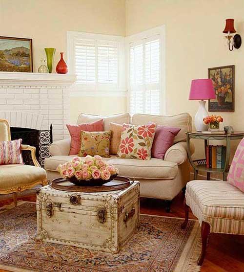 imagem de sala de estar na cor creme