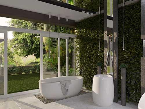 foto de banheiro com jardim vertical e luminaria moderna