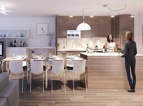 imagem de cozinha com sala de jantar integrada