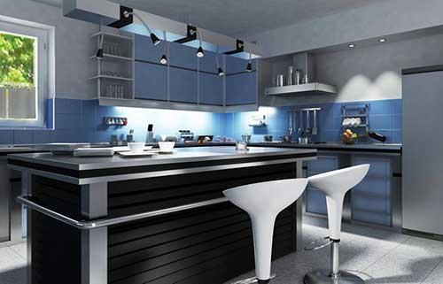 foto de cozinha com ilha preta e armarios azuis