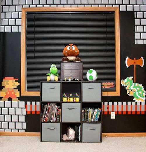 foto de quarto gamer infantil decorado com papel de parede do mario