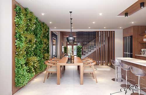 sala de jantar com jardim de inverno vertical