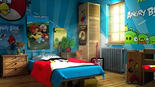 imagem de quarto gamer infantil do angry birds