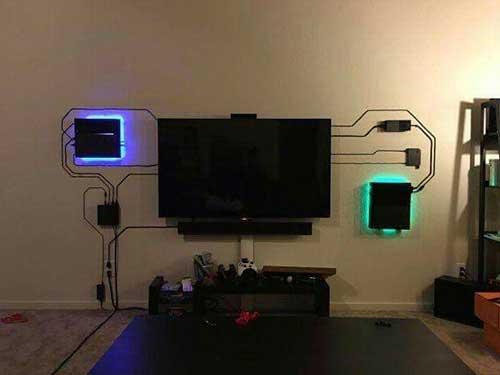 foto de quarto gamer com console na parede