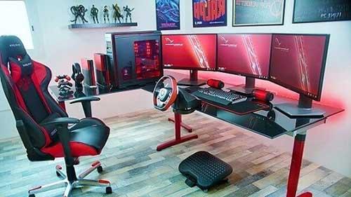 foto de quarto gamer top nas cores preta e vermelha