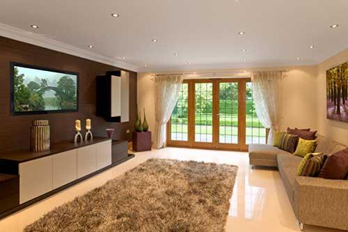 sala de estar com painel marrom e piso de porcelanato