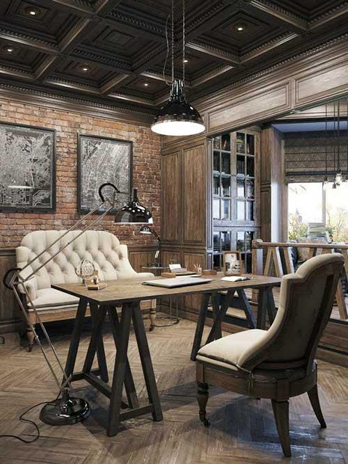 foto de escritorio retro com parede de tijolinho