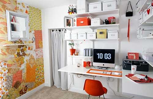 home office diy branco e laranja