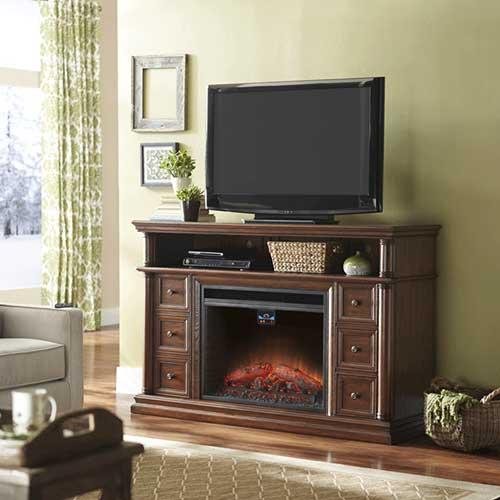 sala de estar com lareira eletrica decorativa