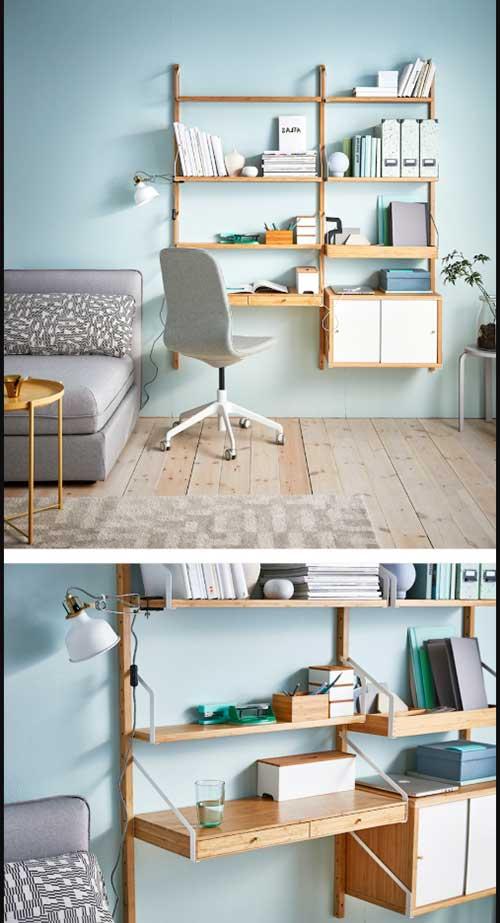 foto de mesa de estudos na a sala de estar com prateleiras