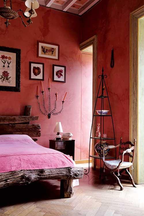 foto de quarto de casal todo rosa rustico