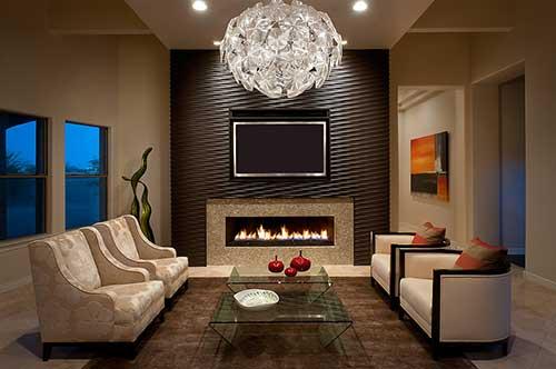 sala de estar luxuosa com lareira eletrica