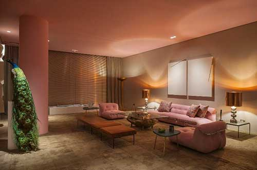 foto do pinterest de sala de estar nas cores rosa e marrom