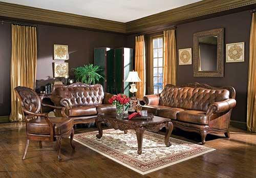 sala de estar vintage com sofa marrom e poltrona amarela