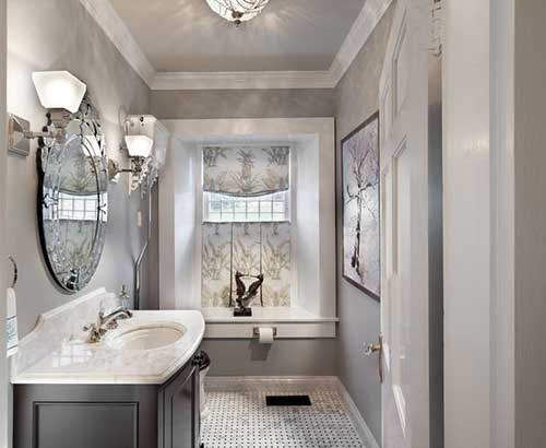 banheiro vintage cinza e branco bonito