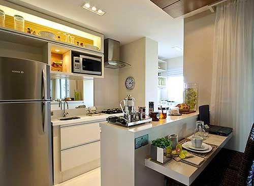 cozinha americana pequena planejada de apartamento