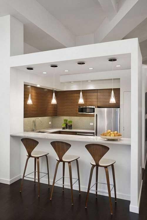 foto de cozinha americana pequena e planejada inserida em pergolado ou edicula