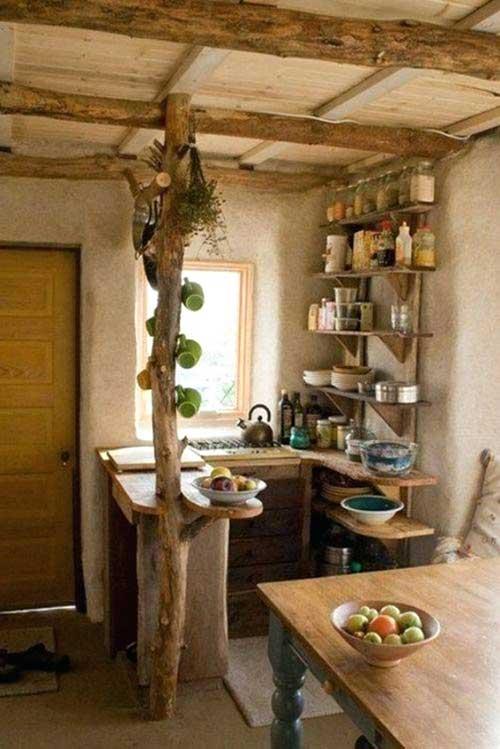 foto de cozinha americana rustica e pequena numa choça