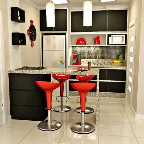 retrato de cozinha preta com detalhes em vermelho, cozinha tipo americana