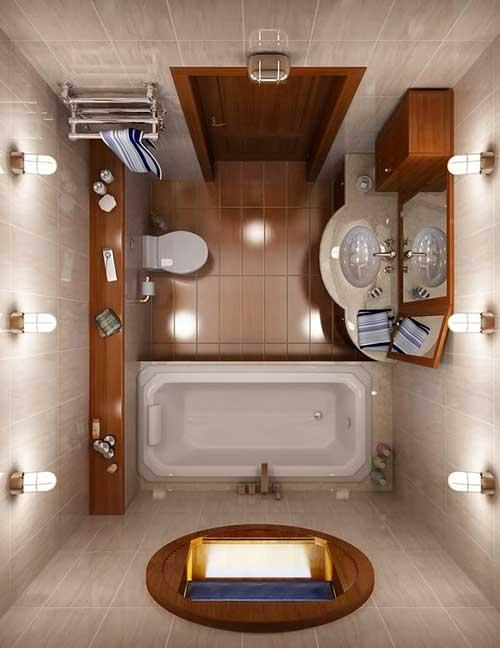 retrato de banheiro visto de cima com piso amadeirado e paredes claras