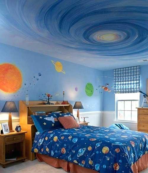 foto de quarto galaxia com paredes azuis